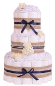 Vintage Inspired Shabby Chic Navy Neutral Baby Shower Nappy Cake - hamper gift
