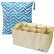 KF Baby Nappy Bag Insert Organiser 38cm (Khaki) + Nappy Wet Dry Bag Value Combo