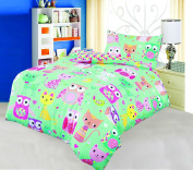 Love2Sleep COT BED DUVET COVER WITH PILLOWCASE- SUPERIOR NATURAL COTTON RICH 120 X 150 CM - CATS AND OWLS