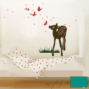 Wall Sticker Decal Sticker Rehlein with Butterflies and Stars M413, Turquoise, M - 40cm breit x 60cm hoch