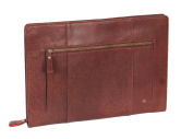 Real Leather A4 Document Folder Folio Conference Zip Folder Tablet Case CRUISE Brown