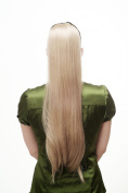 WIG ME UP ® Hairpiece PONYTAIL (comb & ribbon wrap-around system) extension full volume long (65 cm) straight medium ashblond blond D13001-24