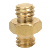 Foto & Tech Brass Spigot 1cm Male to 1cm Male Threaded Screw Adapter with Hex Nut Centre