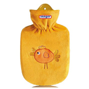 Hot Water Bottle 0.8 Litre Hot Water Bottle with Velour Cover Birdy Orange Children's Hot Water Bottle