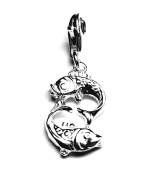 Solid Sterling 925 Silver Charm - Astrology Zodiac Sign - Pisces