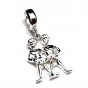Solid Sterling 925 Silver Bead Charm - Astrology Zodiac Sign - Gemini