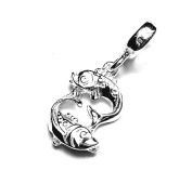 Solid Sterling 925 Silver Bead Charm - Astrology Zodiac Sign - Pisces