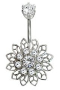 Beautiful Stainless Belly Button Piercing with CZ crystals clear cz Colour