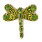 Porcelain and Glass Beads Green Dragonfly Brooch - Costume Jewellery