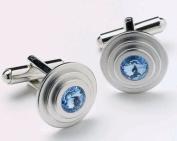 Onyx-Art CK14A Sapphire Crystal Circular Shaped Metallic CuffLinks plus FREE Premier Life Store Pen