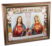 """Sacred Heart of Jesus & Mary Plaque Padded Wall Picture Holy Land 11.4"""" / 29 cm"""