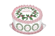 Christmas Cake Decoration Merry Christmas 29cm Inch Round Circular Edible Cake Topper Decoration - Printed on Premium Quality Icing Sheets - With FREE Banner! Suitable for a 30cm cake