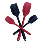 SimpliFine Silicone Spatula Set - 4 Heat Resistant Silicon Spatulas - 2 Small & 2 Large Sizes. Stainless Steel Core Coated In Non Stick Rubber - Kitchen Essential