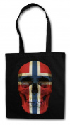 CLASSIC NORWAY SKULL FLAG Hipster Shopping Cotton Bag - Totenkopf Schädel Banner Fahne Norwegen