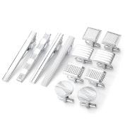 PiercingJ 12pcs Men's Classic Stainless Steel Cufflinks and Tie Clip Set