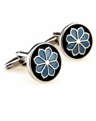 SAMGU Flower plant blue cufflinks male French shirt cuff links for men's Jewellery Gift Colour black & blue