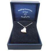Curvy Tin Heart Necklace in Special 10th Wedding Anniversary Gift Box