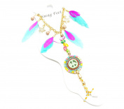 ch04 °F - Feathers and Stars Anklet Bracelet with Round Ethnic Peace Multi-Coloured - Fashion Jewellery