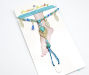 ch08 °F Hand Plaited Beads and Turquoise Ethnic Leaf Charm Anklet/Bracelet Set - Fashion Jewellery