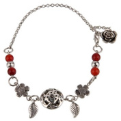 Fashion Anklet Made by Hand - Red Agate Stones and Cute Flowers