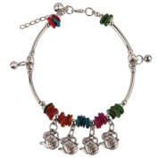 Fashion Anklet Made by Hand - Fake Cute Teapot with Colourful Stones