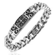 Silver Bracelet with Engraved Celtic Cross Stainless Steel