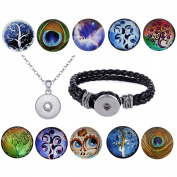 Morella Ladies' Tree Of Life, 10 Click Button Starter Set with Bracelet and Necklace 70 cm