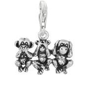 SEXY SPARKLES Women's Speak No Evil See Hear Monkeys Clip On Pendant Charm For Bracelet Or Necklace