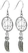 Silver dream catcher earrings with genuine stone