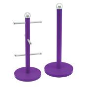 SQ Professional Mug Tree and Kitchen Roll Holder, Purple