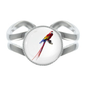 Scarlet Macaw Parrot Design Silver Plated Adjustable Ring in Gift Box