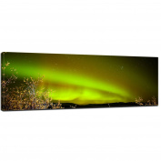 """Bilderdepot24 Wall Art - Canvas Picture Panorama """"Northern Lights in Yukon - Canada II"""" 90cm x 30cm - Gallery wrapped, directly from the manufacturer"""