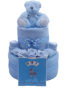 Two Tier Baby Boy Blue Nappy Cake Baby Shower Gift with.