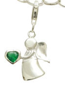 Sterling Silver Guardian Angel Birthstone Clip on Charm May