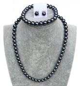 Vintage Ladies Faux Pearl Necklace SET with Bracelet and earrings - 17 inches 8mm Black - with Gift Bag
