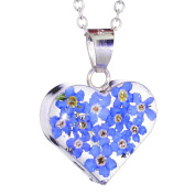Sterling Silver Small Heart Pendant Made With Real Forget Me Nots