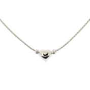 "Solid 925 Sterling Silver Ladies 16"" (42cm) Floating Heart and Bead Necklace In Gift Box"