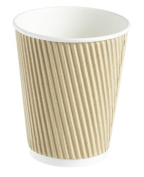 100 x Kraft 350ml Ripple 3 Ply Disposable Insulated Paper Cups For Tea Coffee Cappuccino Hot Drinks