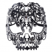 Coofit Men Devil Skull Laser Cut Venetian Masquerade Mask with Rhinestones
