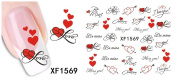Huafeiwude Womens 19 Designs Watermark Nail stickers Nail Art Decal Decoration XF1569