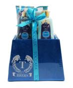 Argan Oil Marrakesh Gardens Bath Gift Set - Shower Gel, Hand Cream, Body Lotion, Bath Crystals, Scoop in a Velour Covered Gift Box