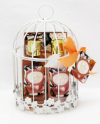 Opaline Savillian Neroli Bath Spa Gift Set - Shower Gel, Body Lotion, Bath Salt in a White Metal Wire Bird Cage