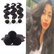 REINE Hair Products Brazilian Body Wave 3 Bundles 100% Unprocessed Brazilian Virgin Human Hair Extensions