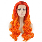 Mxangel Long Wavy Two Tone Red Orange Ombre Tone Half Hand Tied Heat Resistant Fibre Ombre Orange . Wavy Natural Wig