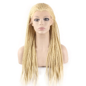Mxangel Heat Resistant 613 Blond Micro Braided Hair Wig Half Hand Tied Synthetic Lace Front Natural Long Blonde Micro Braid Wig