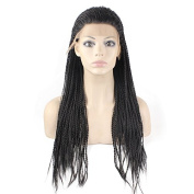 Mxangel Heat Resistant Micro Braided Hair Wig Half Hand Tied Synthetic Hair Natural Long Black Braid Lace Front Wig