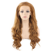 Mxangel Long Wavy Celebrity Lace Front Wig Half Hand Tied Heat Resistant Fibre Fashion Blonde Front Lace Synthetic Hair Wig