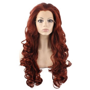 Mxangel Long Wavy Celebrity Lace Front Wig Half Hand Tied Heat Resistant Fibre Fashion Burgundy Red Synthetic Hair Wig