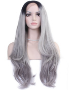Diforbeauty Two Tone Long Curly Black to Silver Ombre Hand Tied Lace Front Wig Synthetic Hair
