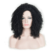 Andao Medium Length Afro Kinky Marley Braids Curly Hair Dreadlocks Wig African American Celebrity Wigs Black